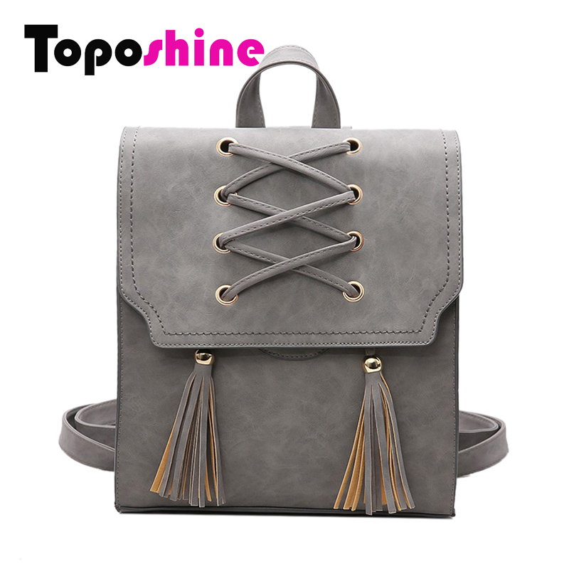 Toposhine 2018 NEW Fashion Backpack Tassel Women Backpack PU Leather School Bag Women Casual Style A4 Paper Women Backpacks 1651 women backpack new fashion casual pu leather ladies feminine backpack candy color korea school style solid student mini backpack