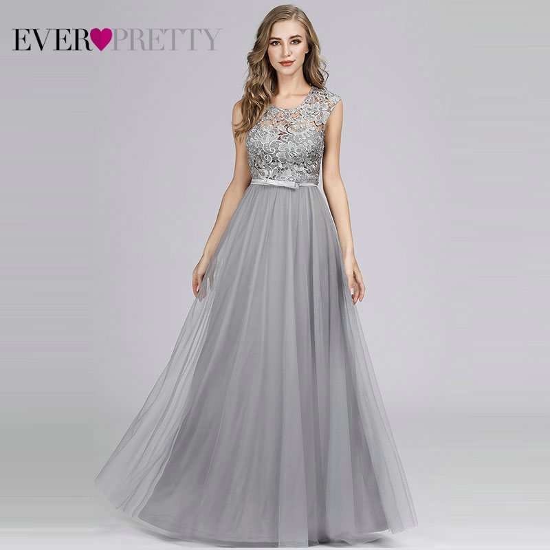 Robe De Soiree Ever Pretty Hollow Out Lace Long Evening Dresses EZ07609 Tulle O-Neck Sleeveless Banquet Party Dress Abendkleider