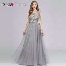 Robe De Soiree Ever Pretty Hollow Out Lace Long Evening Dresses EZ07609 Tulle O Neck Sleeveless Banquet Party Dress Abendkleider