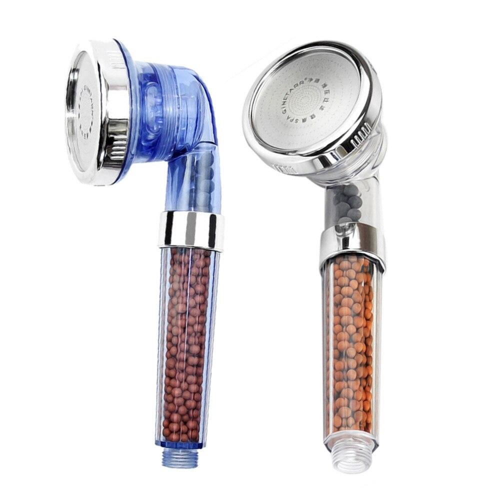 Cabeza de ducha ajustable filtrada de iones negativos 2017 saludable con manguera de ducha tres modos de ducha negativo Lon SPA cabezal de ducha