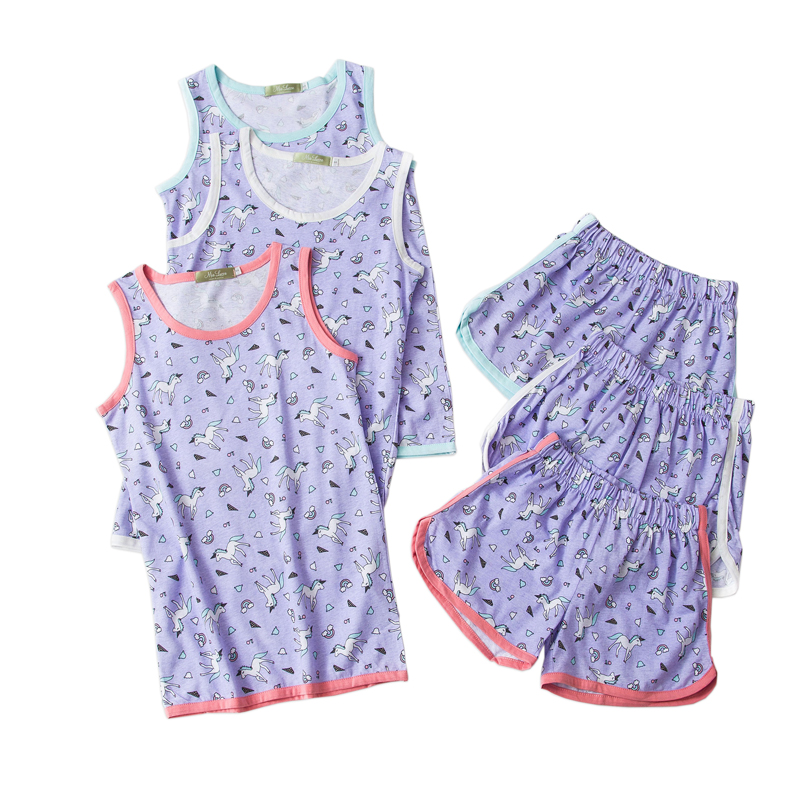 Summer cute unicorn short   pajamas     sets   women 100% cotton Sleeveless Korean casual shorts homewear women pijamas