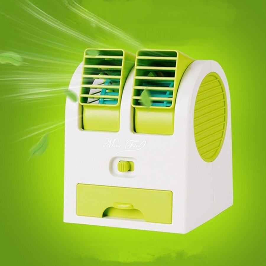 Mini Tragbare USB Lüfterkühlung Tragbaren Desktop Dual Blattloser Kleine Klimaanlage Fans Luft Lüfter für Büro und Zu Hause