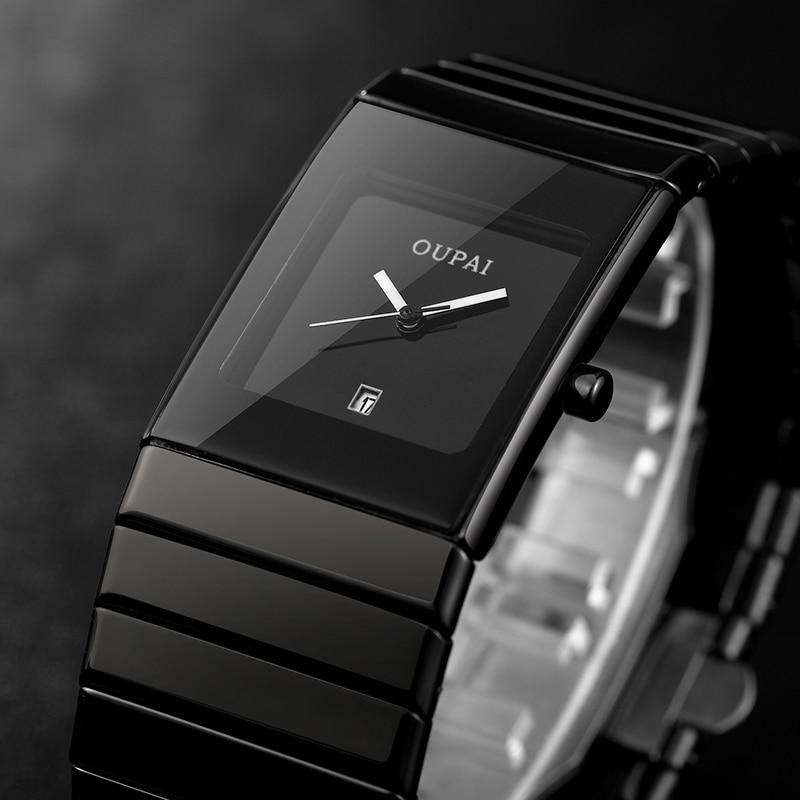Reloj de pulsera OUPAI cuadrado para hombre, reloj de pulsera de cuarzo negro, resistente al agua, reloj Masculino, erkek kol saati