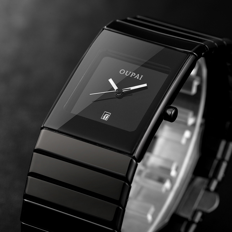 Negócios à Prova Relógio de Pulso Oupai Relógio Quadrado Homem Dwaterproof Água Quartzo Preto Cerâmica Masculino Hodinky Erkek Kol Saati