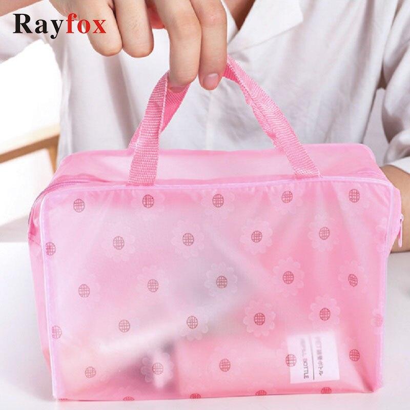 Storage Bag Waterproof Travel Makeup Organizer Small Floral Pattern Portable Transparent Swimming Storage Bag Bathroom Organizer