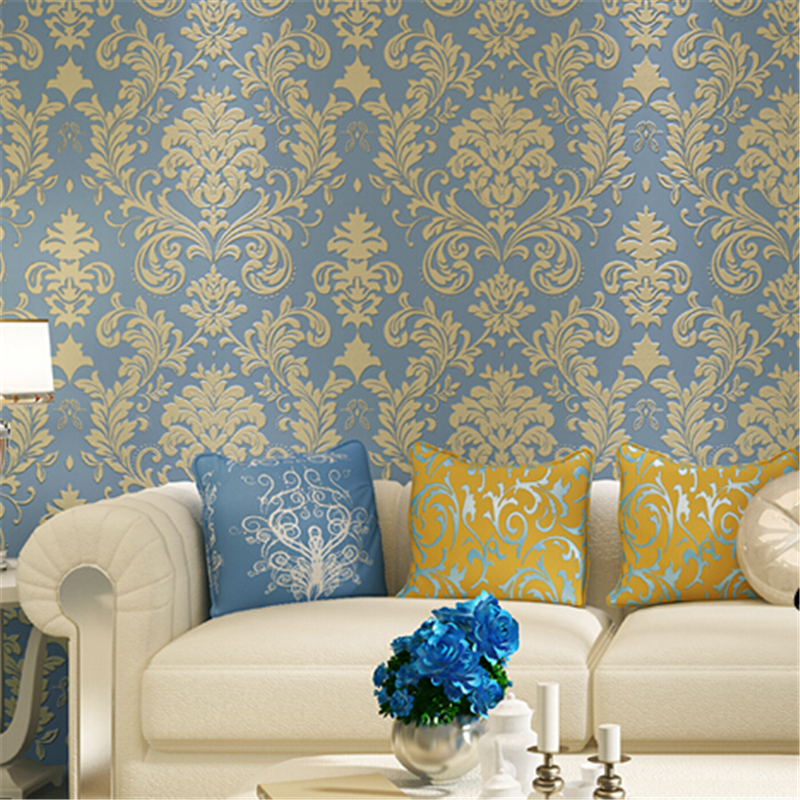beibehang  European Style Wallpaper Roll Nonwoven Wall Paper Damask Embossed Flocking Covering 3d Papel De Parede papier peint beibehang of wall paper classic european damask non woven wallpaper flocking wallpaper roll papel de parede contact paper