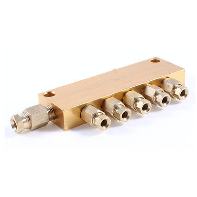все цены на Air Pneumatic Brass Adjustable 5 Ways Oil Distributor Regulating Manifold Block онлайн