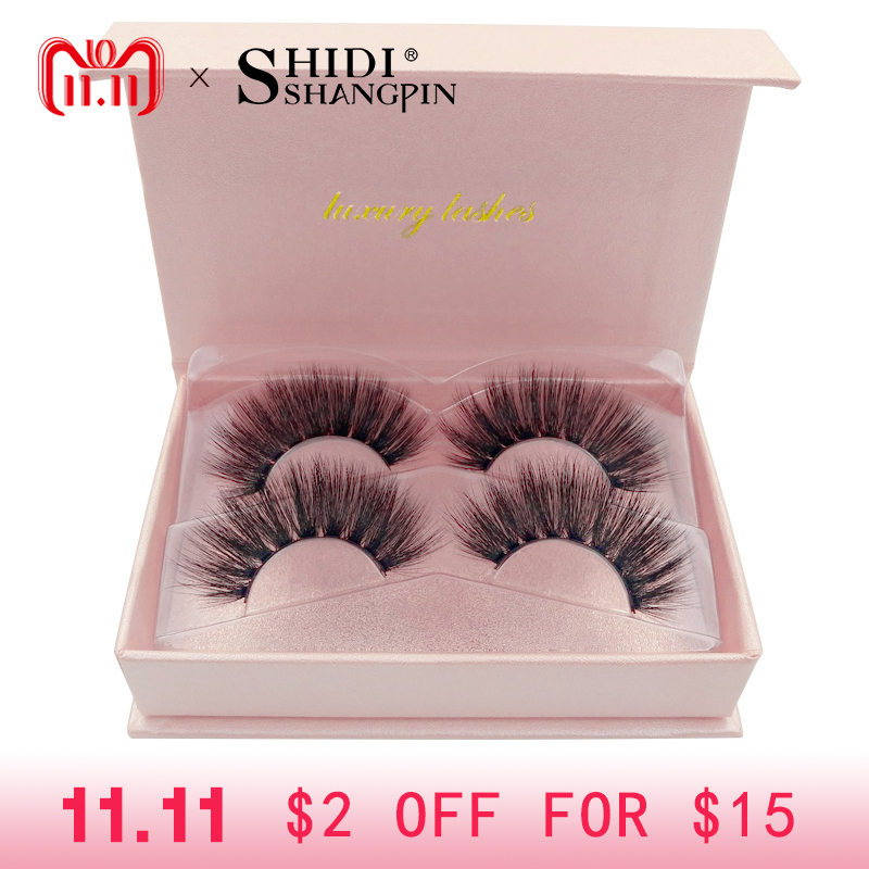 SHIDISHANGPIN 2 pairs long 3d mink lashes thick false eyelashes makeup silk fake eye lashes strip mink eyelashes volume lash