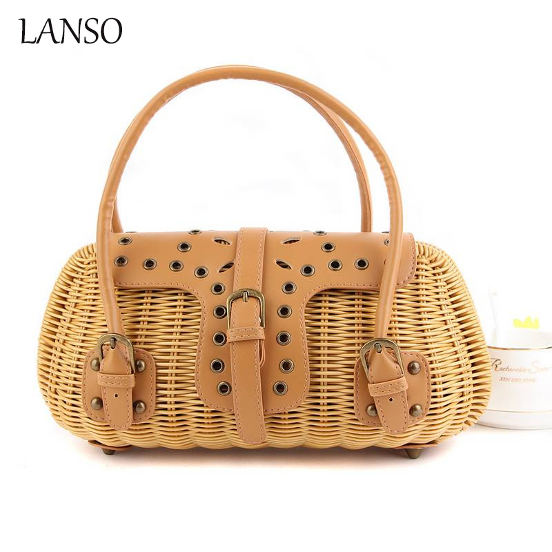 Waterproof Retro Rivets Straw Bag Covered High Quality Tote Bags for Women Handbag Summer Woven Beach Bag Woman Rattan Straw Bag handmade flower appliques straw woven bulk bags trendy summer styles beach travel tote bags women beatiful handbags