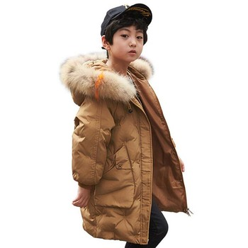 Russian winter Children's White Duck Down Jackets kids long down coats hooded boys girls fur collar outdoor ski outwear 5-12Year