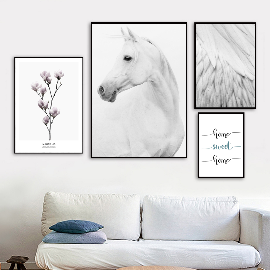 Us 3 27 41 offhorse magnolia feather home sweet wall art canvas painting nordic posters and prints animals wall pictures for living room decor in