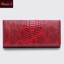 Marke Design Qualitäts-frauen-echtes Leder Brieftasche Weibliche Mode Dollar Preis Serpentin Lange Frauen Geldbörsen