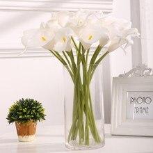 Bouquet artificiel de lys Calla, 10 pièces, haute qualité, toucher réel, pour mariage, décoration florale de maison