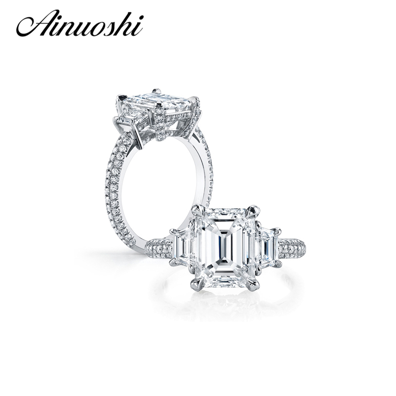 AINOUSHI Luxury 4 Carat Emeralded Cut Ring Three Stones SONA 925 Sterling Silver Jewelry Wedding nscd
