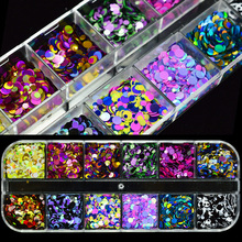 1 Set Holo 3D Nail Art Glitter Sequins Flakes Slice Multi Shape Round/Heart/Star/Butterfly Spangles Manicure Decor Tips JIA16