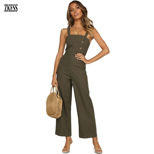 2c2cc0930e ZKESS Women Black Frankie Striped Button Down Jumpsuit Fashion Casual  Sleeveless Hommock Wide Leg Overalls Playsuits Zip LC64501