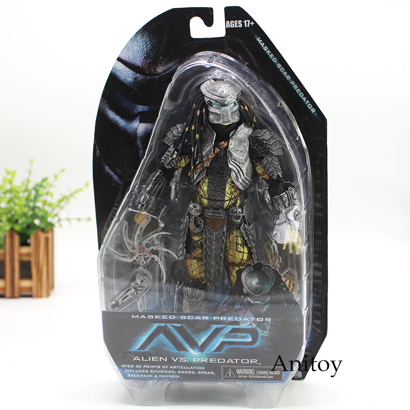 NECA Alien vs Predators Masked Scar Predator and Scar Predator Action Figure Toy 21cm free shipping neca p1 7 soldier set classic predator 21cm alien hunter primevil avp