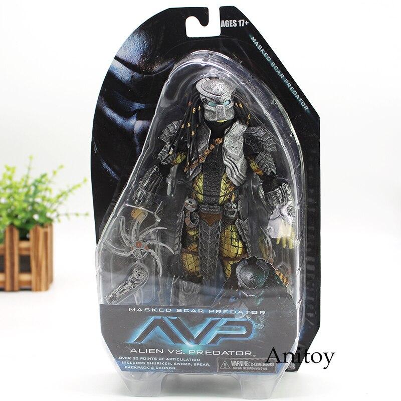 NECA Alien vs Predators Masked Scar Predator and Scar Predator Action Figure Toy 21cm