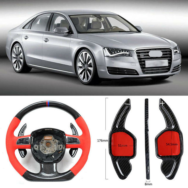 $ 103.39 Carbon Fiber Gear DSG Steering Wheel Paddle Shifter Cover Fit For Audi A8 2008-2017