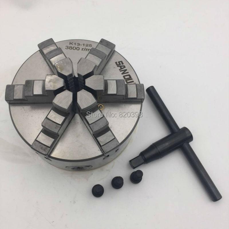 Haute précision 5 ''CNC mandrin 6 mâchoires Six mâchoires auto centrage tour mandrin 125mm mandrin pour perceuse K13 K13-125 nouveau