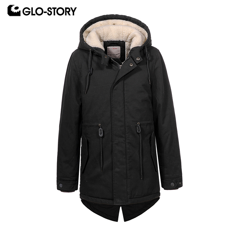 GLO-STORY Teenage Kids Boys 2018 Lamb Wool Liner Winter Thick Warm Hooded Parkas Child Outwear Snow Windbreaker Coats BSX-6678 glo story teenage boys winter jackets children boy 2018 casual streetwear patchwork with tape zipper hoodie parkas coats