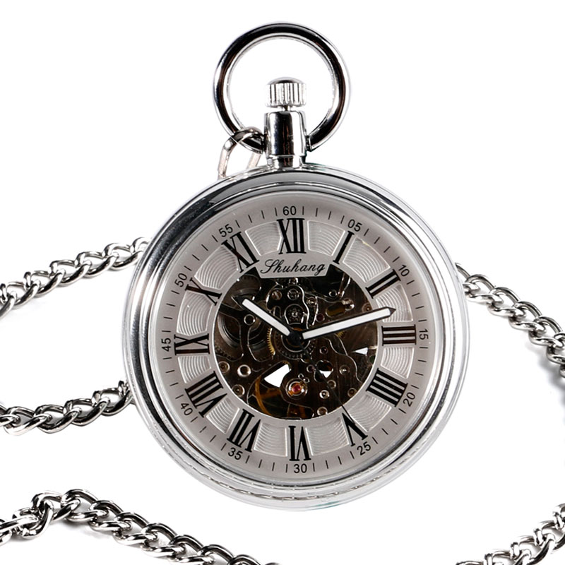 Image 3 - SHUHANG New Mechanic Watch 2017 Men Automatic Self Winding Pocket Watch Silver Simple Open Face Chain Pendant with Roman Numberpocket watch silverpocket watchpocket watch wind -