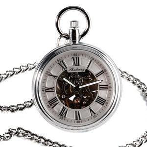 Image 3 - SHUHANG nowy zegarek mechaniczny 2017 mężczyźni automatyczny samonakręcający kieszonkowy zegarek srebrny prosty otwarty łańcuszek wisiorek z z cyframi rzymskimi