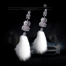 cool car  rearview mirror hanging perfume accessories luxury fur interior Crystal bling ornament decoration