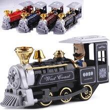 15cm diecast Car Train model Alloy die-cast Electric train model With light&sound boys toys Retro locomotive