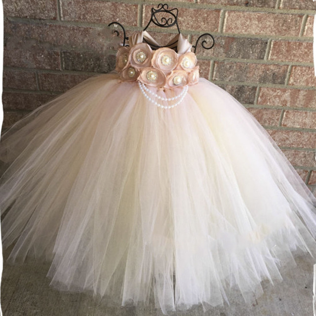 b99d633571df4 Handmade Blush Flower Girl Wedding Tutu Dress Baby Girls Satin ...