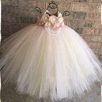 Handmade Blush Flower Girl Wedding Tutu Dress Baby Girls Satin Ribbon Flowers pearl Party Tutu Dresses For Children Birthday