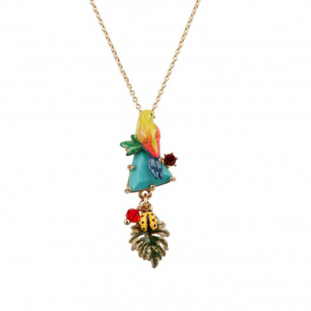 New Product Be Listed Enamel Glaze Colour Parrot Blue Pine Shi Shuye Necklace Gold-plated Clavicle Chain Woman Mixed Batch