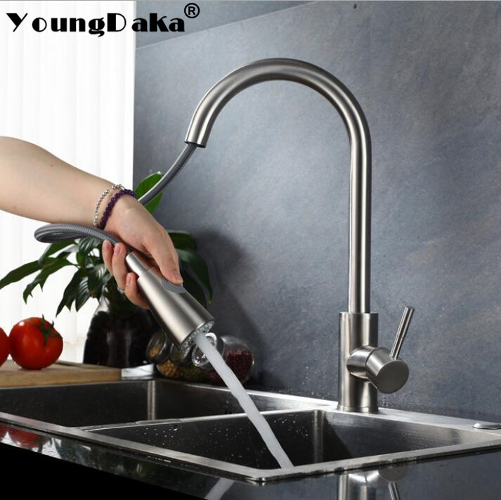 Kitchen Hot&Cold Water Mixer Faucet Single Handle Pull Out Sink Tap 360  Swivel Mixer Water Sprayer Jet/Soft Flow Water Switch gizero free shipping orange spring kitchen faucet brushed nickle finish single handle hot cold water crane mixing tap gi2069
