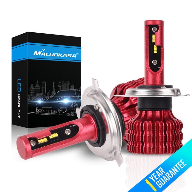 цена на MALUOKASA H7 H4 ZES Chip 2X LED Headlight Bulb 20000LM 100W Canbus H1 H3 H11 H8 HB4 fog Light 12V 24V Hi-Lo Headlamp Car Styling