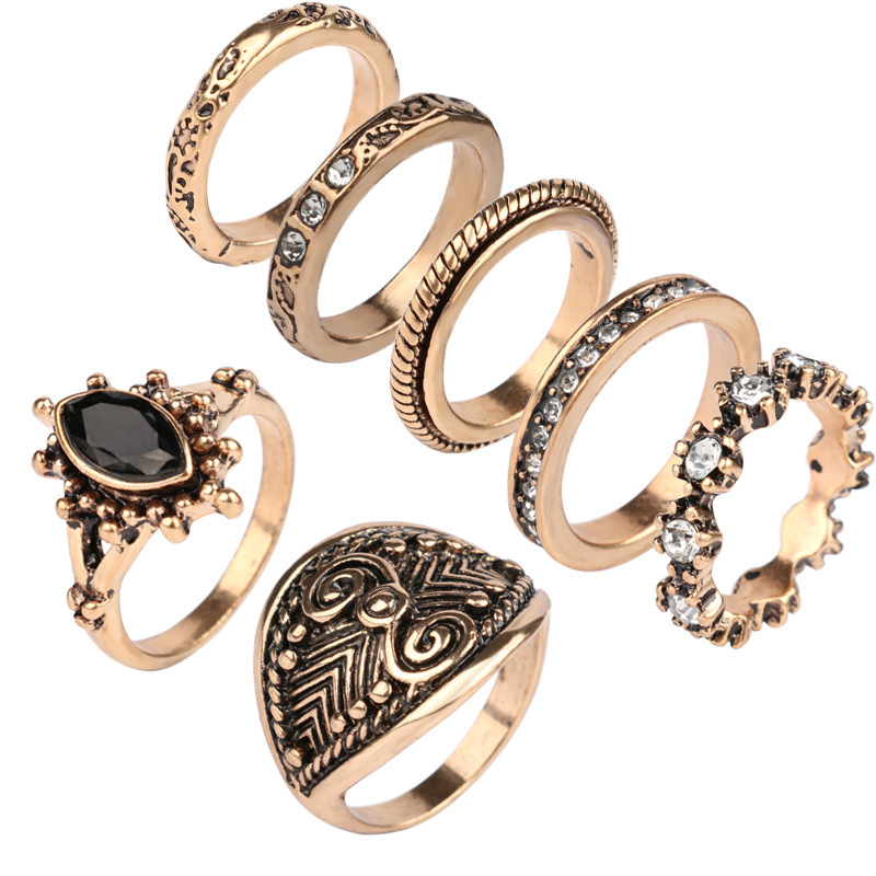 7pcs Set Rings Sets For Women Gypsy Ethnic Jewelry Antique Gold Color Full Rhinestone Crystal