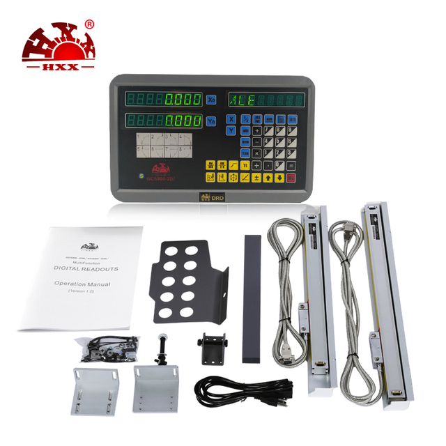 Hxx complet 2 axes dro kit gcs900-2d/lecture numérique et 2 pièces échelles linéaires/encodeur/capteur 50-1000mm pour les machines