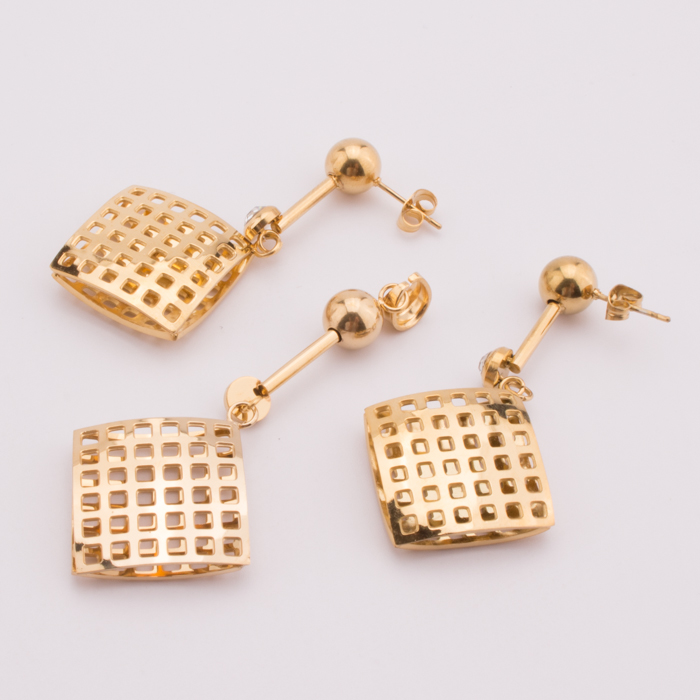 TL Square Gold Jewelry Sets Hoop Earrings&Pendant Big Circle Stainless Steel Jewelry Set For Woman Bridal Gift Dubai