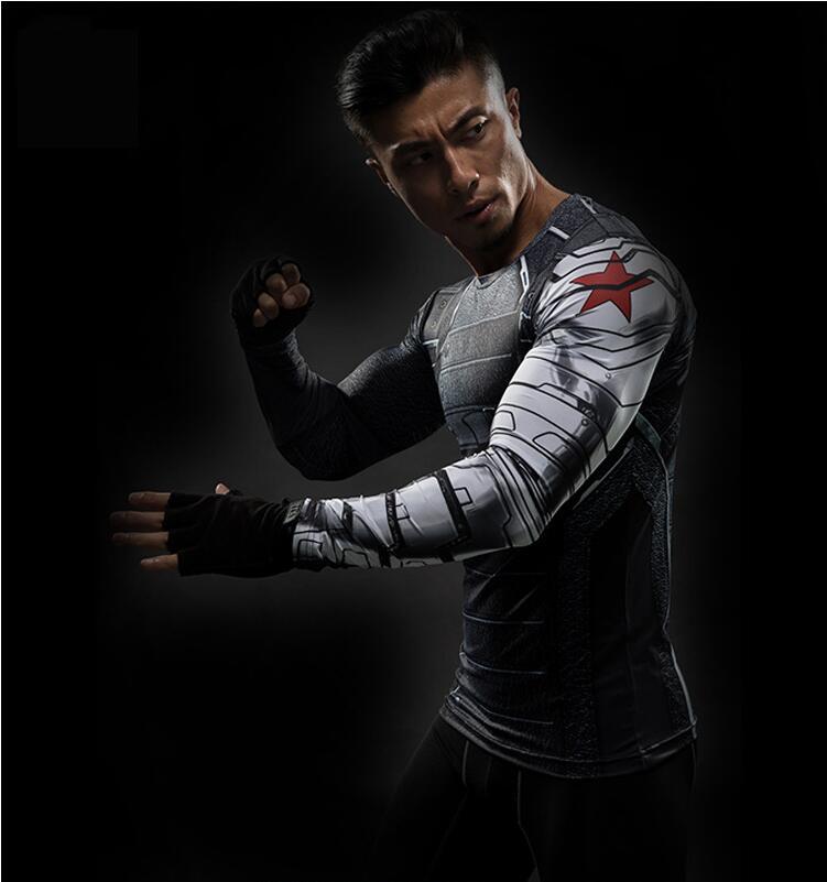 2019 Marvel Superhero Winter Soldier Bucky 3D Men T Shirt Fitness Crossfit T-Shirt Long Sleeve Compression Shirt Mens MMA