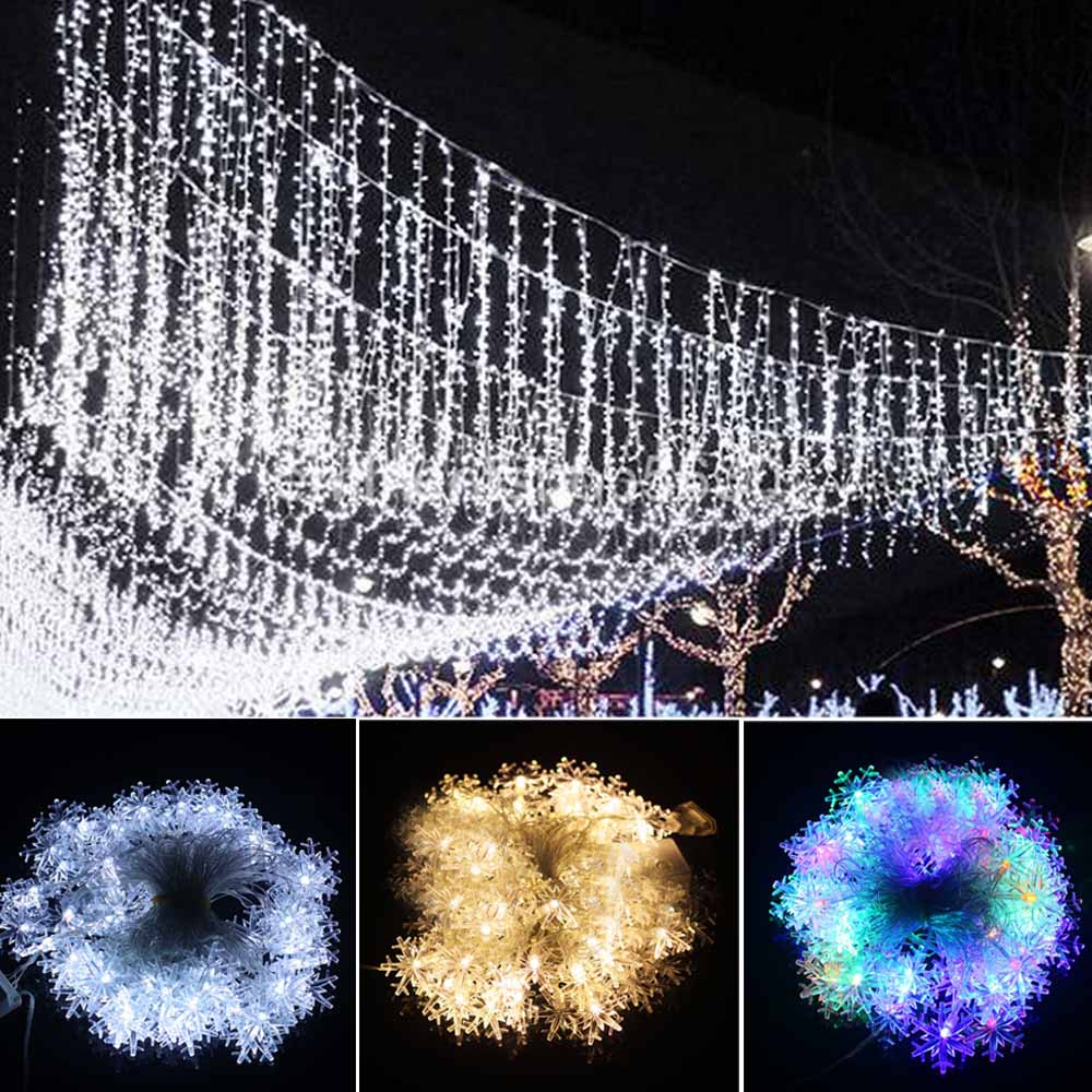 10M Led String Lights 70leds Snowflake Led Christmas Tree Lights Home Party Wedding Docoration Silver Wire With Tail Plug