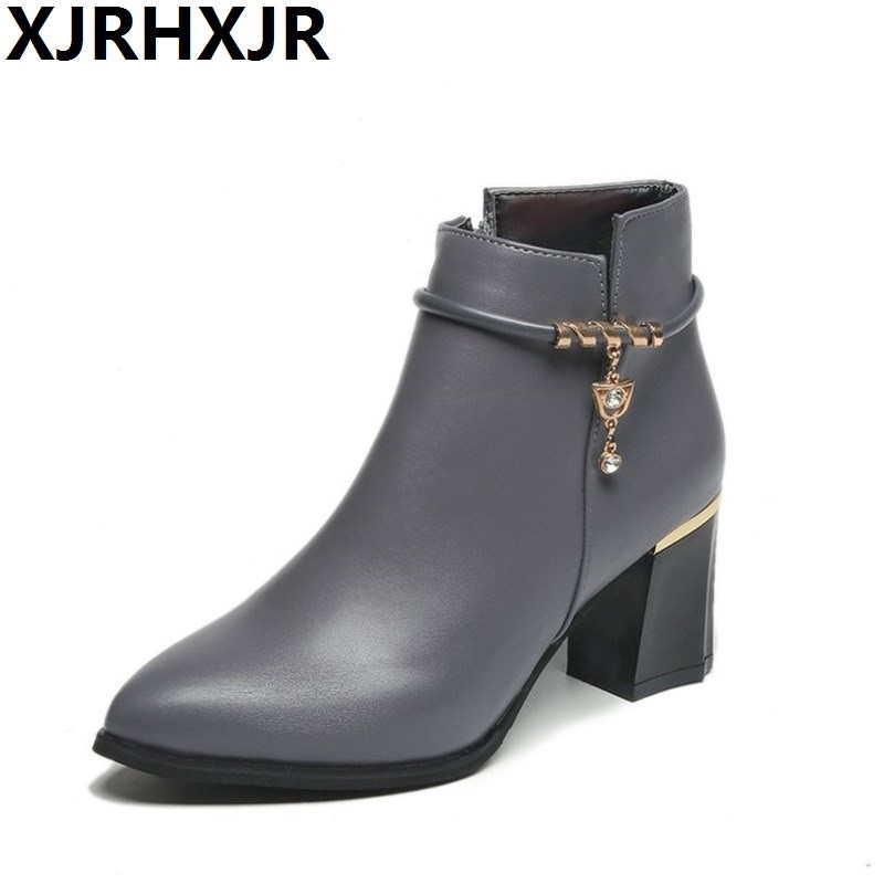 XJRHXJR Pointed Toe Shoes Women Ankle Boots Autumn Thick High Heel Martin Boots Zip Winter Pu Leather Shoes Boot Black Grey Wine autumn and winter short cylinder boots with high heels boots shoes martin boots women ankle boots with thick scrub size35 39
