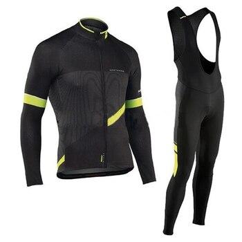 NW 2019 Primavera Outono Manga Longa Conjunto Camisa de Ciclismo Homens de Bicicleta Equipe Roupa ao ar livre 19D Gel pad calças Compridas Ropa maillot ciclismo