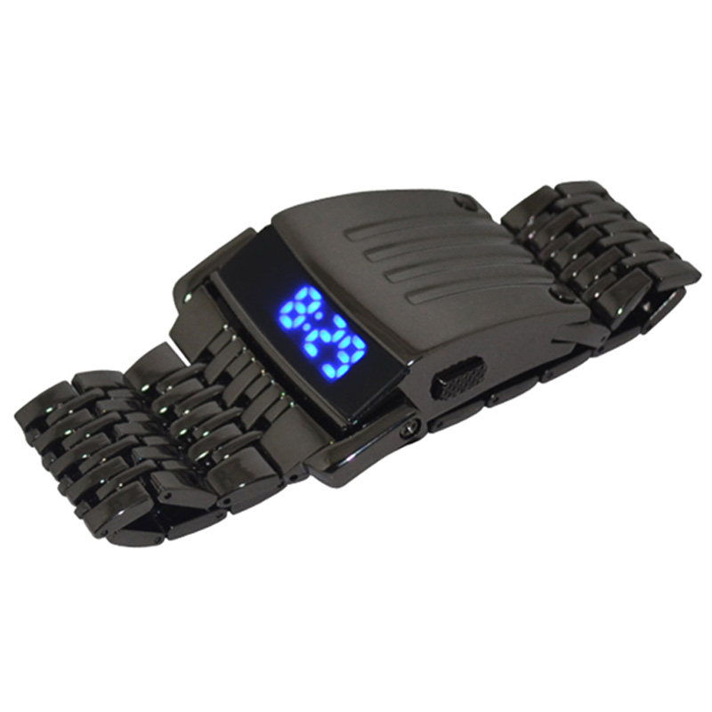 Mens di lusso di Sport Orologi Digitali LED Della Vigilanza di Modo Creativo In Acciaio Inox Blu Elettronico Fresco Orologi Da Polso Regalo