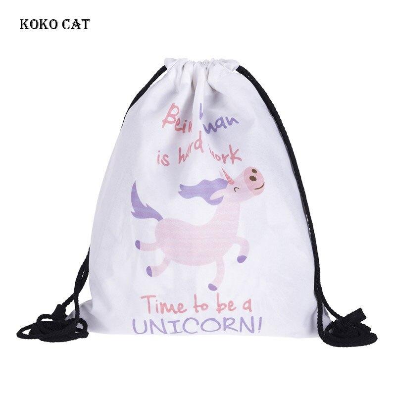 Women Shopping Draw Pocket Cute Cartoon Unicorn Printing Drawstring LadiesTraining Canvas Small Backpack Mochila Knapsack