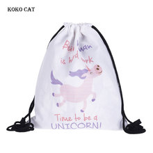 Women Shopping Draw Pocket Cute Cartoon Unicorn Printing Drawstring LadiesTraining Canvas Small Backpack Mochila Knapsack