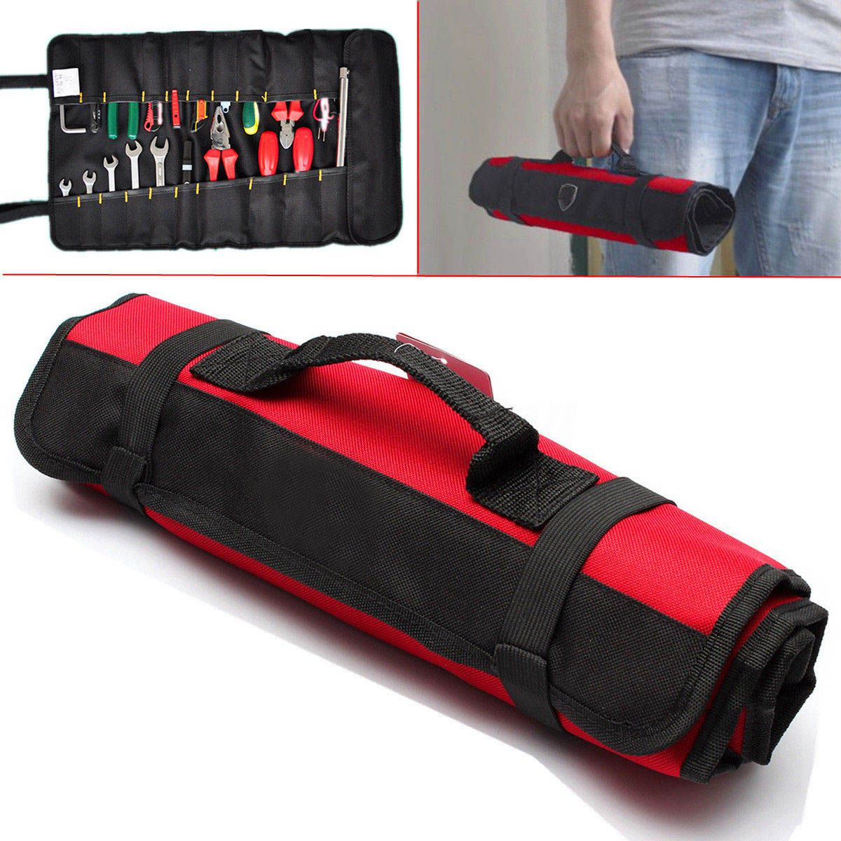 HEBA-Hardware Tools Roll Plier Screwdriver Spanner Carry Bag 22 Pockets