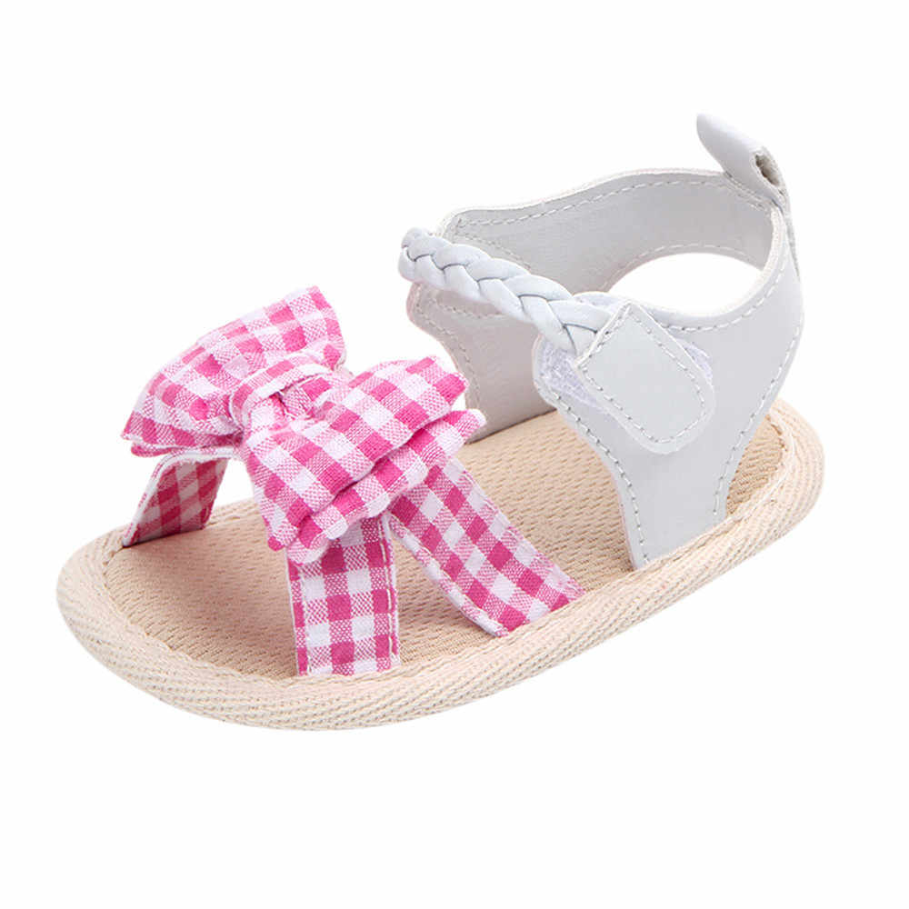 Bow Plaid Soft Weave Crib Anti-Slip Baby Girls Summer Shoes Anti-Slip Single Sandals 2019 Children Fashion Hook Loop Shoes #YL1