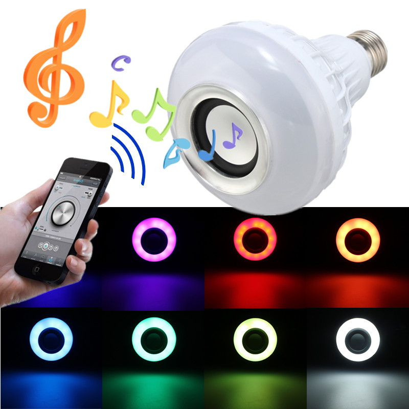 RGB LED Light Bulb E27 12W Wireless Bluetooth Speaker Music Playing 16 Colors Lamp Bulb Lighting With 24 Key Remote Controller szyoumy e27 rgbw led light bulb bluetooth speaker 4 0 smart lighting lamp for home decoration lampada led music playing