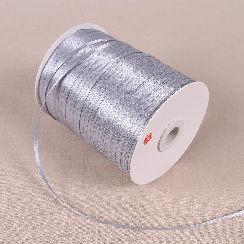 22 м/лот 3 мм атласные ленты для свадьбы День рождения коробка шоколадных конфет подарочная упаковка ленты Рождество Хэллоуин Декор - Цвет: Silver Gray