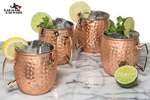 4 Pieces 550ml 18 Ounces Hammered Copper Plated Moscow Mule Mug Beer Cup Coffee Cup Mug Copper Plated(China)