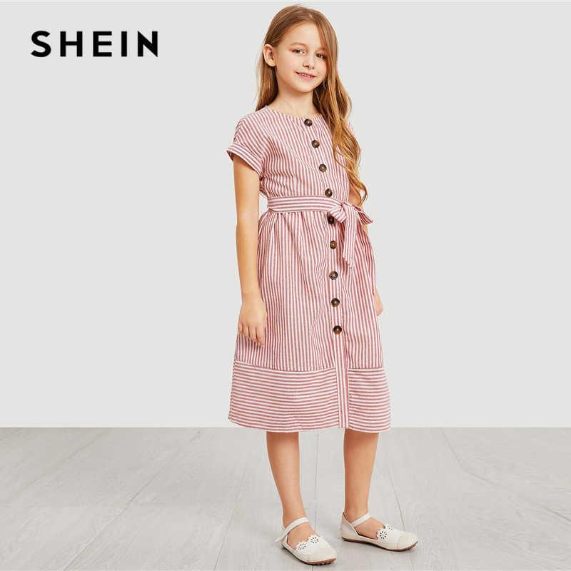 40a028f8a7 ... SHEIN Kiddie Pink Button Up Belted Striped Elegant Shirt Dress Girls  Clothing 2019 Summer Korean Fashion ...